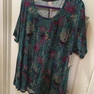 Lularoe Perfect 2xl Black background with florals